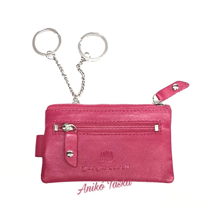Cipzáras kulcstartó puhabőr két karikás színes 51 rózsaszín
