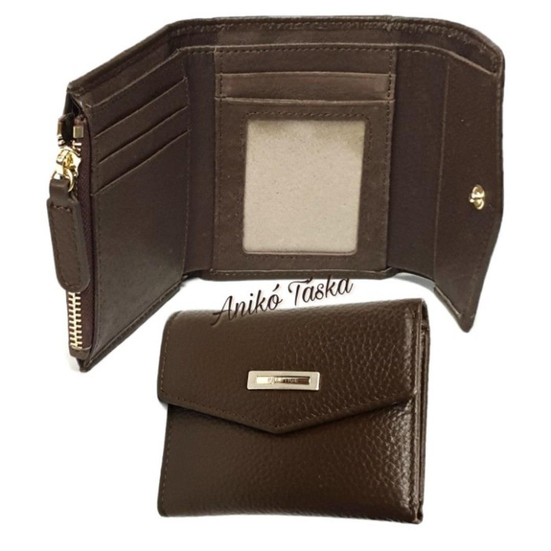 Prestige kis bőr pénztárca cipzáras aprótartós barna