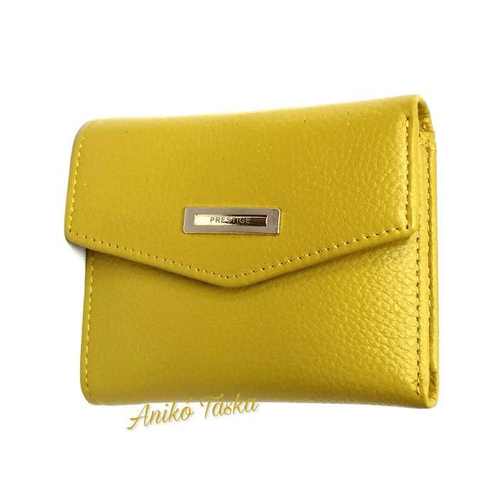 Prestige kis bőr pénztárca cipzáras aprtós mustársárga