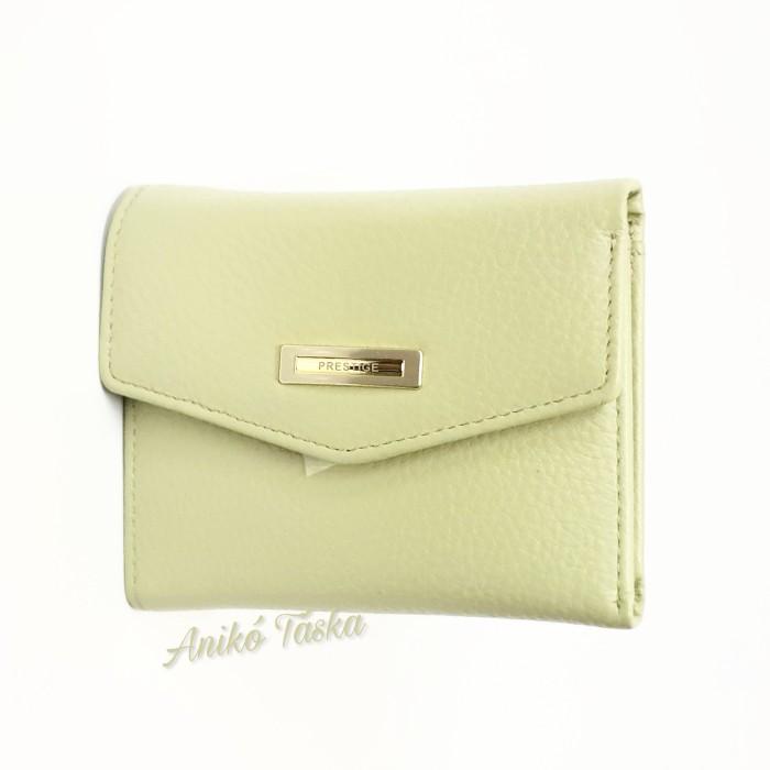Prestige kis bőr pénztárca cipzáras aprtós haványzöld