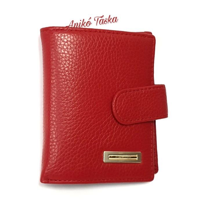 Prestige kis bőr pénztárca patentos apró tartós piros