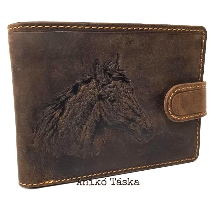 Vadász férfi bőr pénztárca lovas kapcsos belül kihajtós