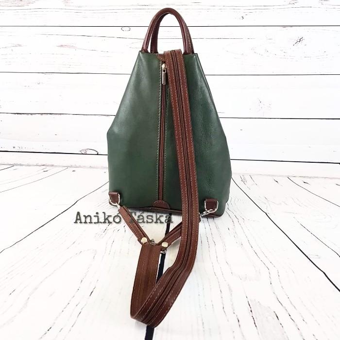 Olasz bőr háti táska zöld barna