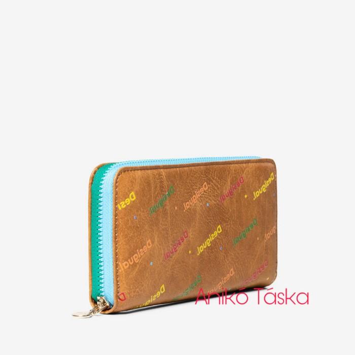 Desigual pénztárca cipzáras sokszín feliratos drapp