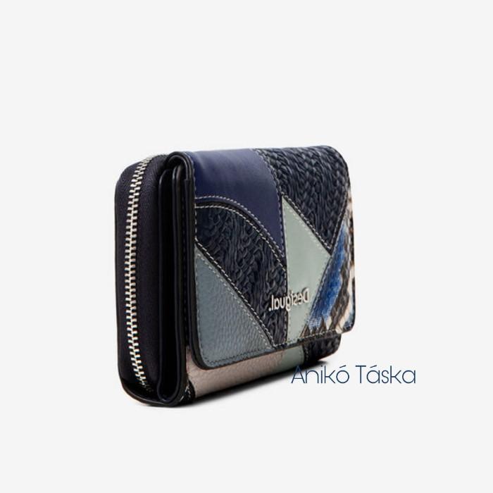 Desigual pénztárca két oldalra nyíló patchwork kék
