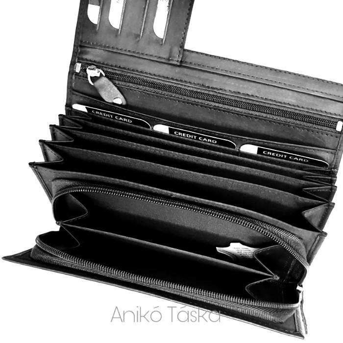 Fekete mattbőr női nagy pénztárca Kadro