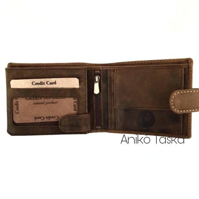 Vadász férfi bőr pénztárca tacsi kapcsos belül kapcsos RFID