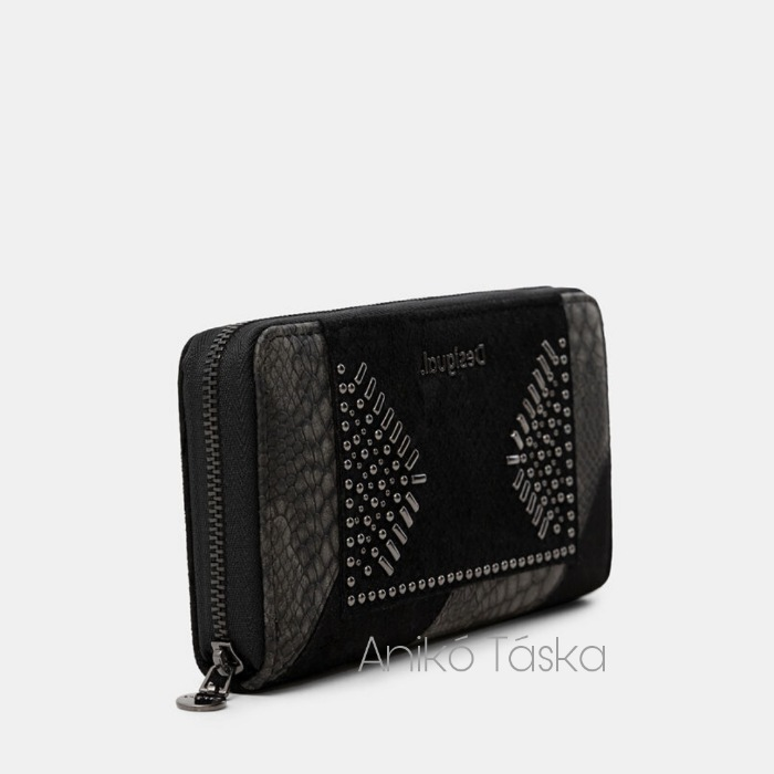 Desigual pénztárca cipzáras kígyóbőr mintás fekete