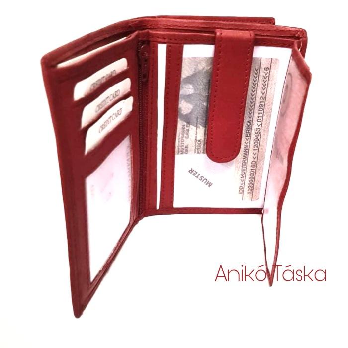 S. BELLMONTE kártyatartós belső patentos pénztárca piros