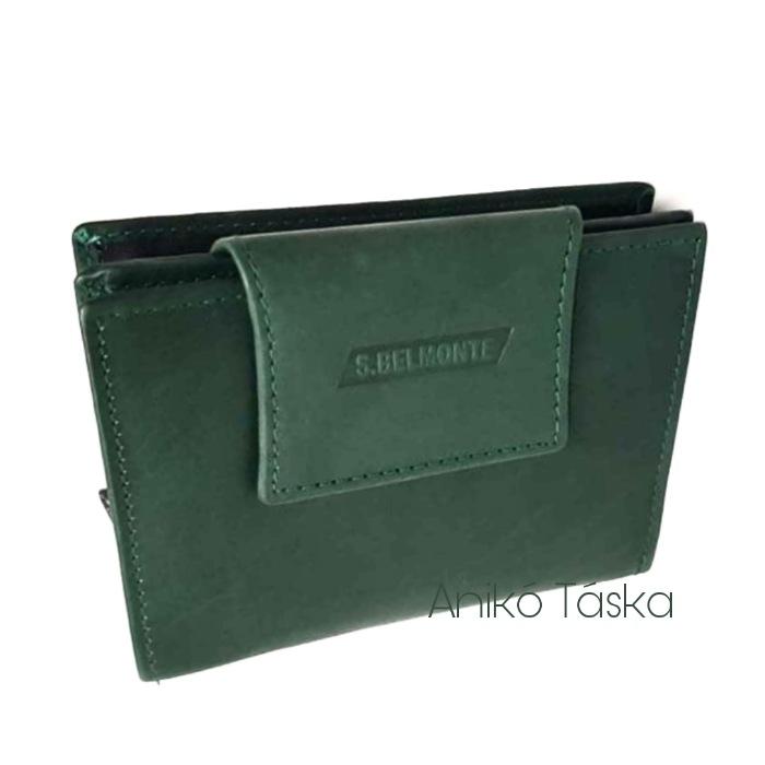 S. BELLMONTE kártyatartós belső patentos pénztárca zöld