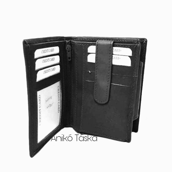 S. BELLMONTE kártyatartós belső patentos pénztárca fekete