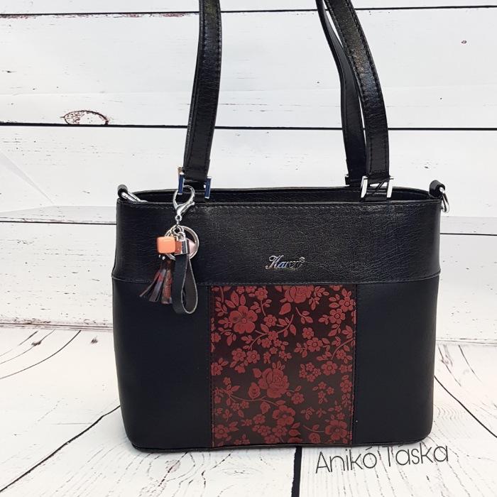 Karen női táska kis  szögletes kézi táska fekete, bordó virágos