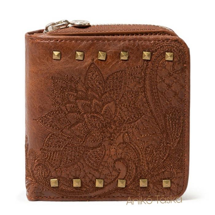 Desigual kis pénztárca hímzett szegecses barna