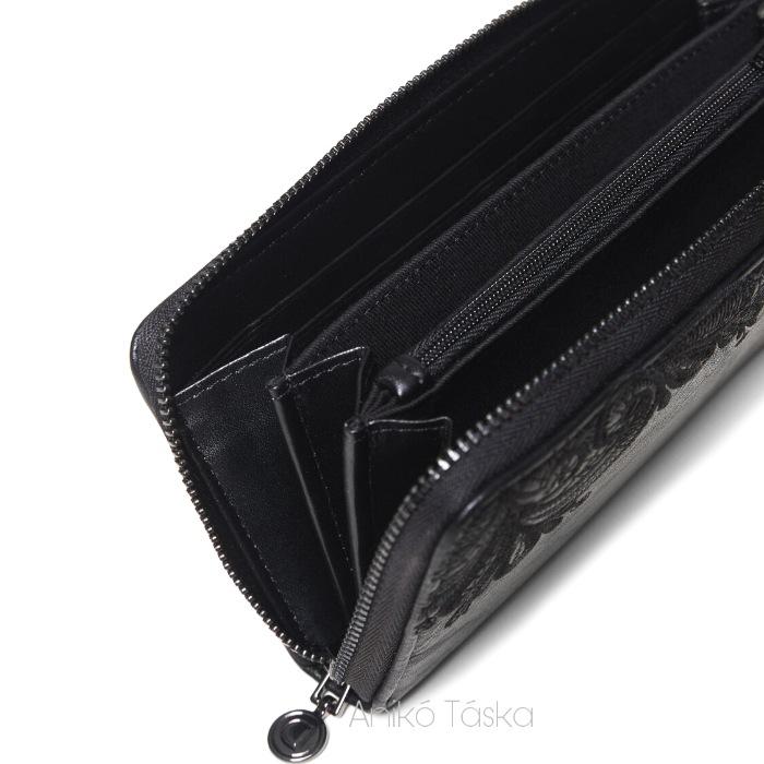 Desigual hímzett körbecipzáras nagy pénztárca fekete
