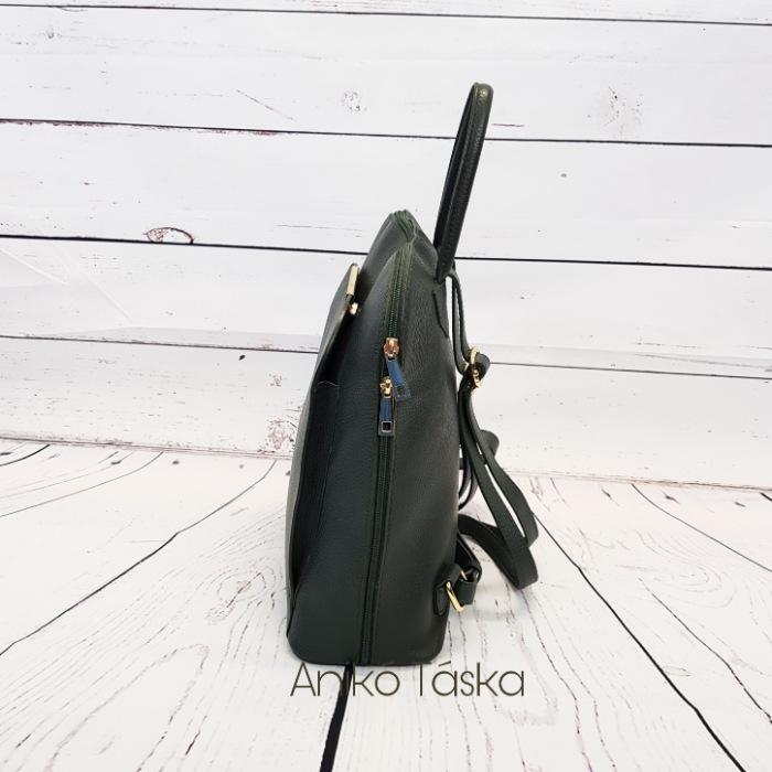 Olasz bőr hátizsák zöld trapéz alakú