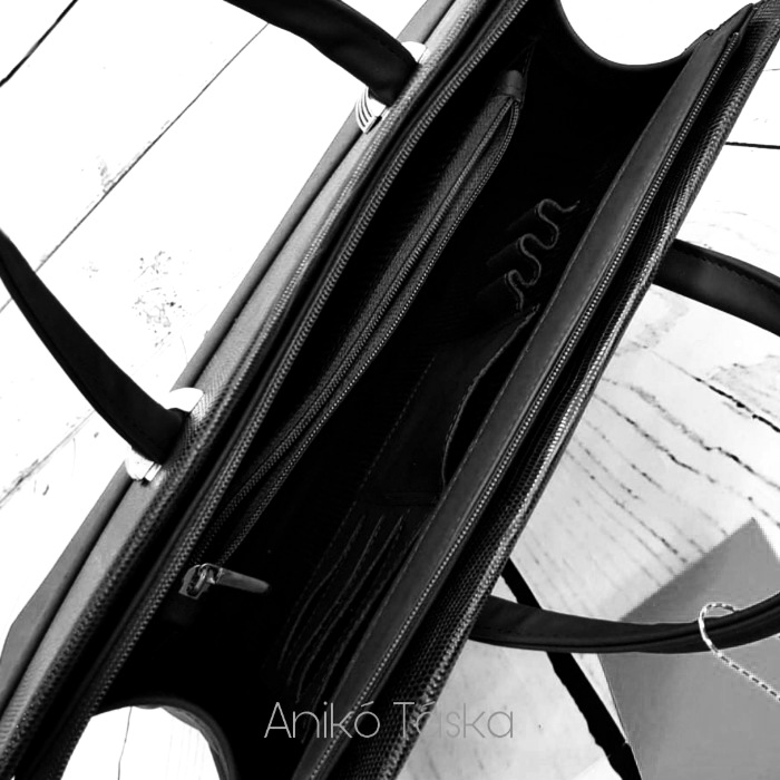 Bőr női aktatáska laptoptáska 15,6 fekete Berkenye
