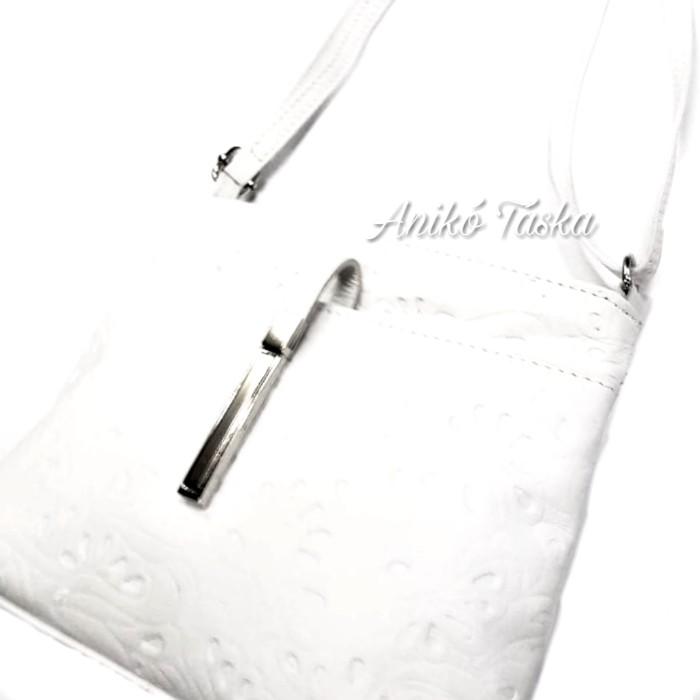Billenő záras kis női bőr táska virágos fehér