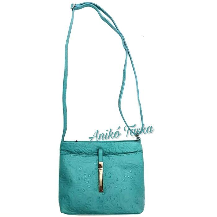 Billenő záras kis női bőr táska virágos türkiz