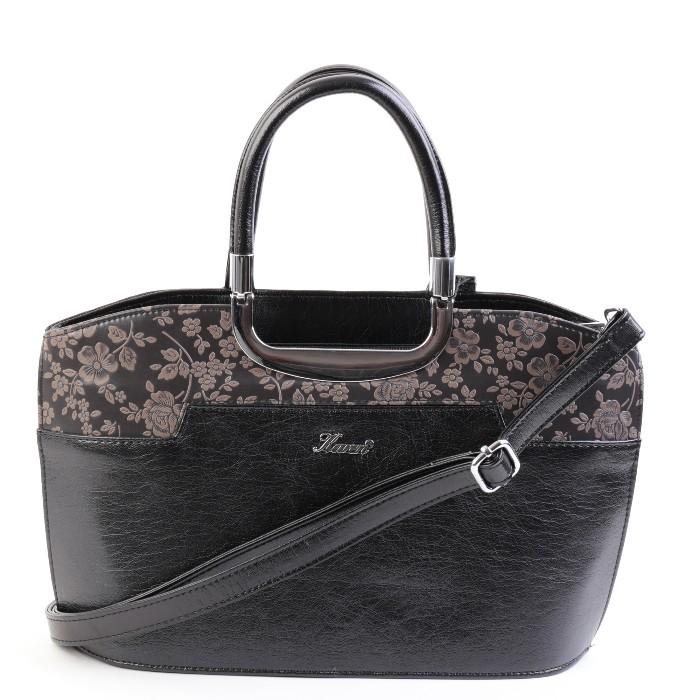 Karen elegáns női kis kézi táska barna virágos fekete