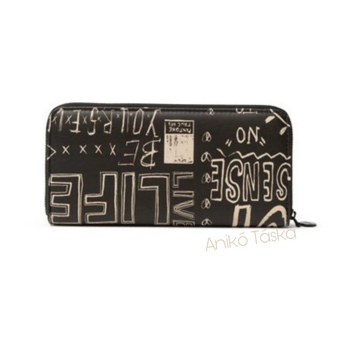 Desigual cipzáras hosszú pénztárca feliratos fekete