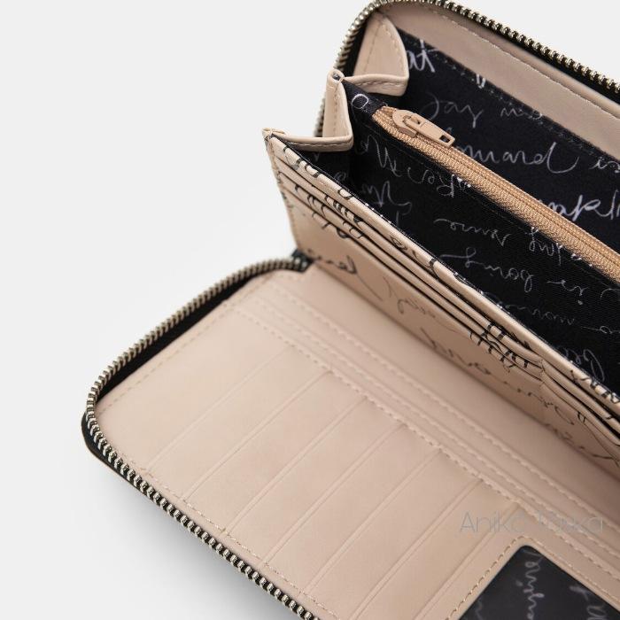 Desigual cipzáras hosszú pénztárca domború feliratos fekete