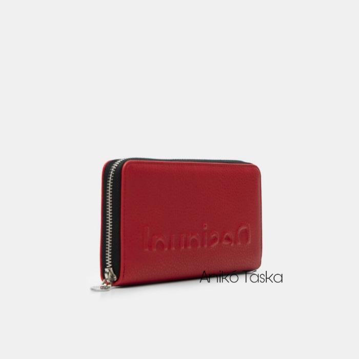 Desigual cipzáras hosszú pénztárca domború feliratos piros