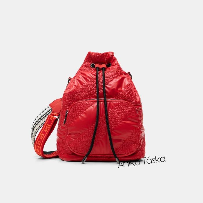 Új Desigual női kézi táska dzseki anyagú eperpiros