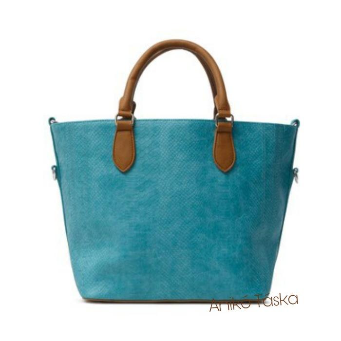 Új Desigual női kézi táska kígyóbőr mintás türkiz kék