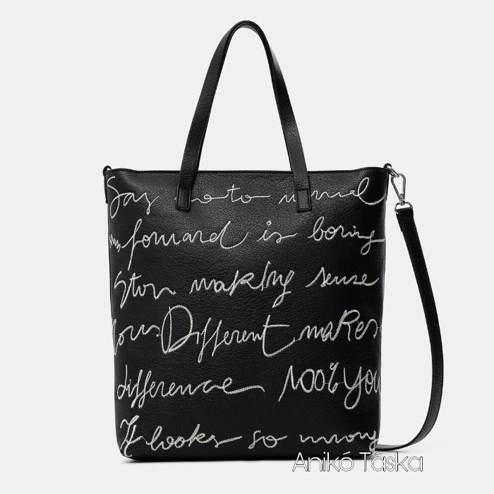 Új Desigual shopper női táska feliratos fekete