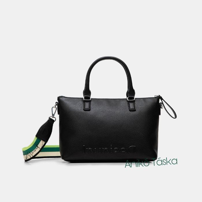 Új Desigual női kézi táska domború logóval fekete