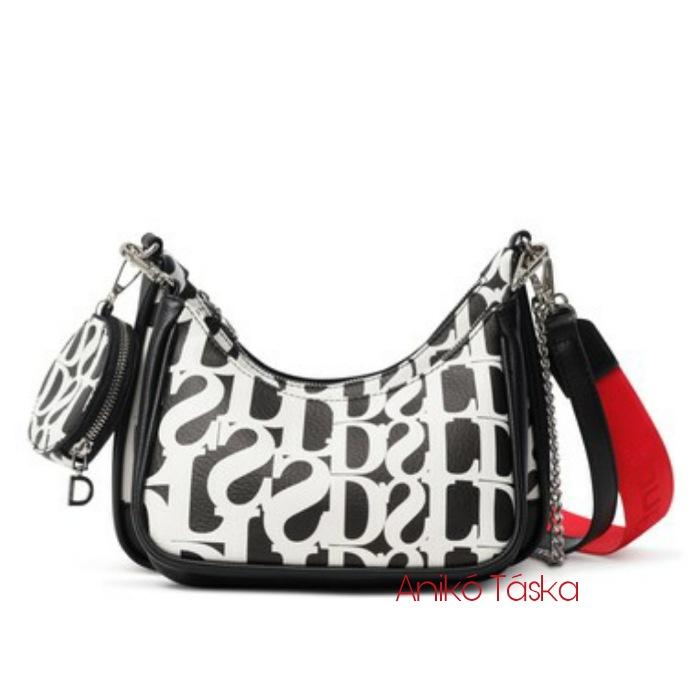 Desigual női válltáska fekete fehér piros vállpántal plusz kispénztárca
