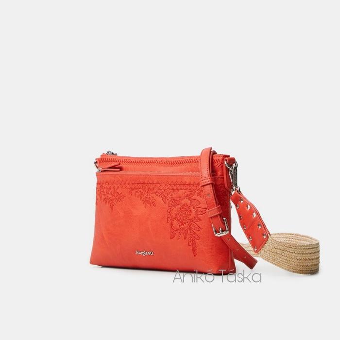 Új Desigual átvetős táska cserélhető vállpántokkal korall piros