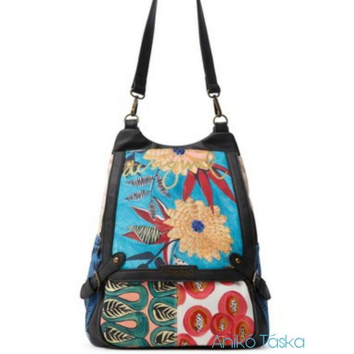 Új Desigual női vászon betétes hátizsák és válltáska egyben hímzett