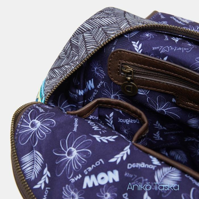 Új Desigual hátizsák és válltáska egyben vászon műbőr kombinált virágos