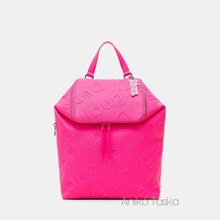 Új Desigual új fazonú nagy  hátizsák 3D logó mintás vibrálró rózsaszín