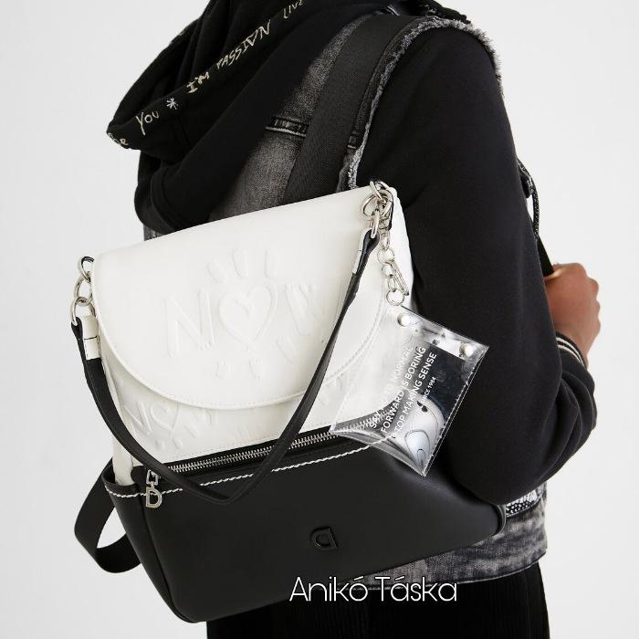 Új Desigual női közepes hátizsák válltáska egyben fekete fehér