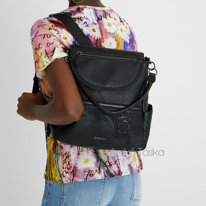 Új Desigual női válltáska hátizsák egyben hímzett drapp