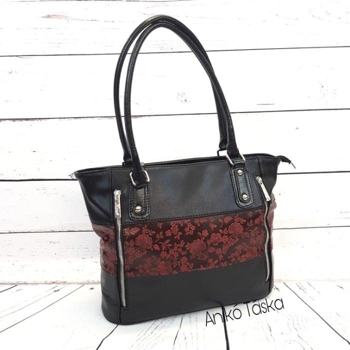 Új Karen rostbőr táska kedvelt fazon fekete-bordó virágos N087