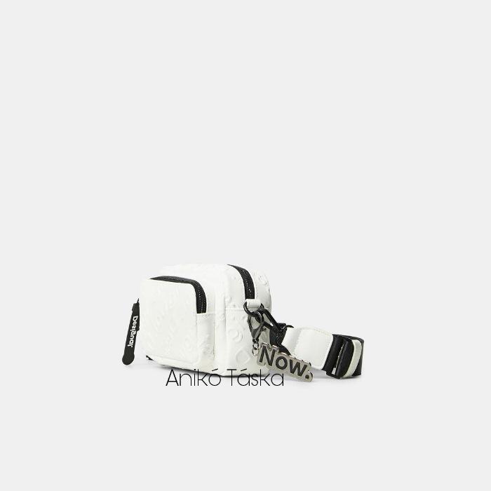 Új Desigual kis átvetős táska domború mintás fehér
