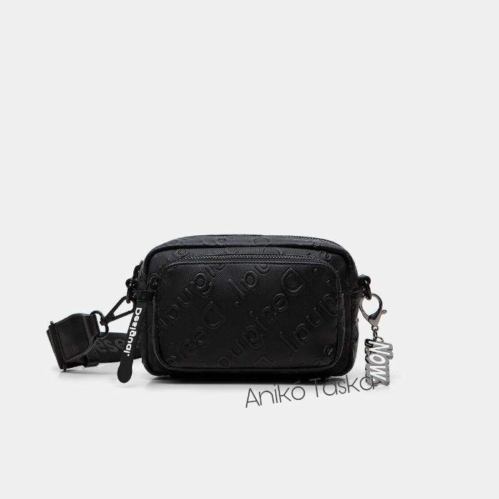 Új Desigual kis átvetős táska domború mintás fekete