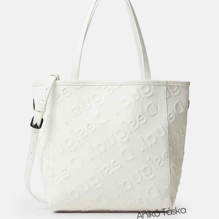 Új Desigual női shopper táska domború mintás fehér