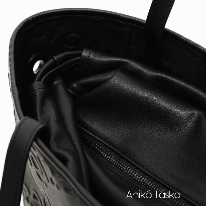 Új Desigual női shopper táska domború mintás fekete