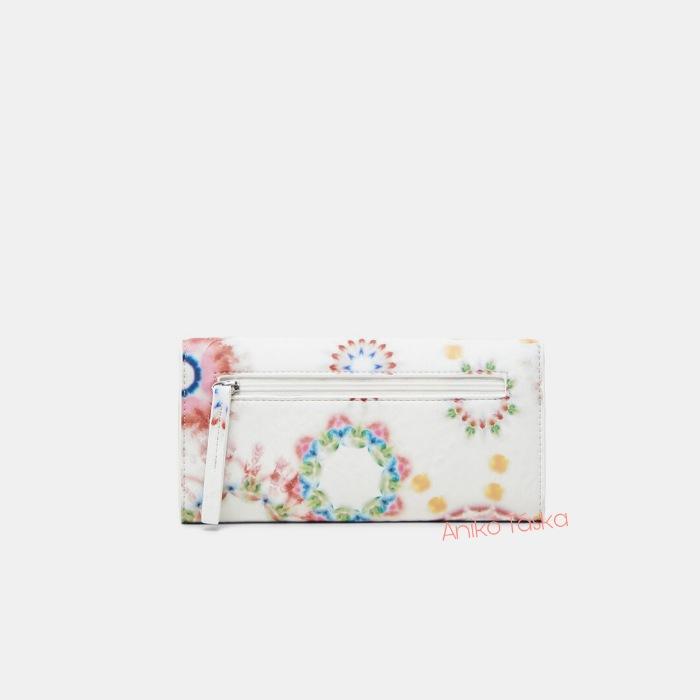Új Desigual hosszú brifkó pénztárca batik mandala mintás fehér