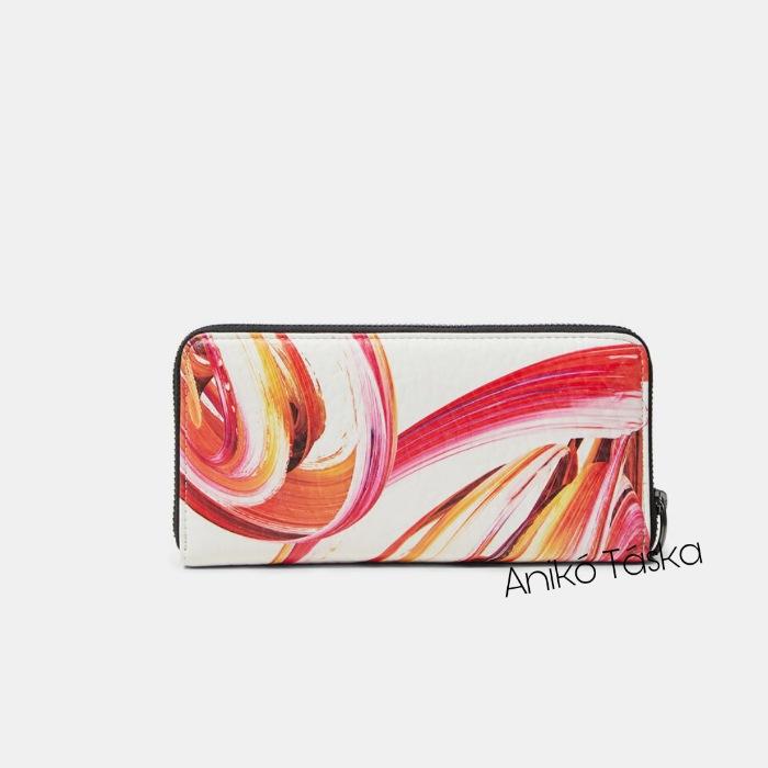 Új Desigual cipzáras hosszú pénztárca festék mintás fehér