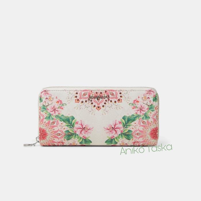 Új Desigual cipzáras virágos hosszú pénztárca rózsaszín fehér
