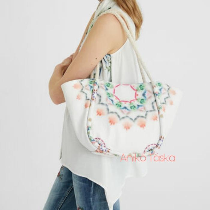 Új Desigual nagy női táska két táska egyben kötél füles fehér