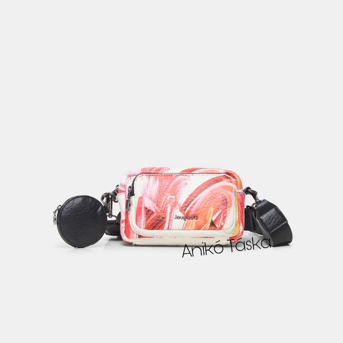 Új Desigual átvetős kis kocka válltáska pink festékes fehér