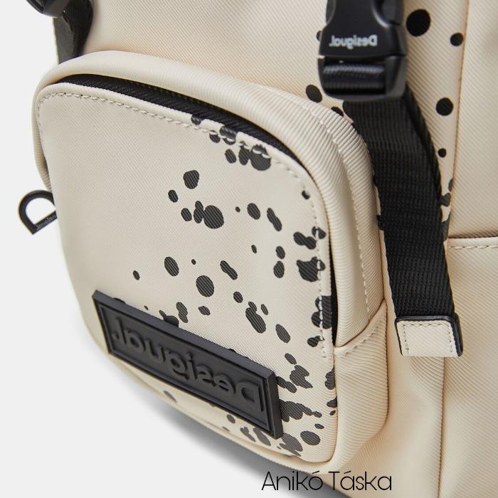 Új Desigual kis női hátizsák bézs festékfoltos