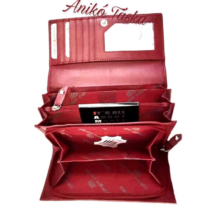 Piros bőr női nagy pénztárca Carelli