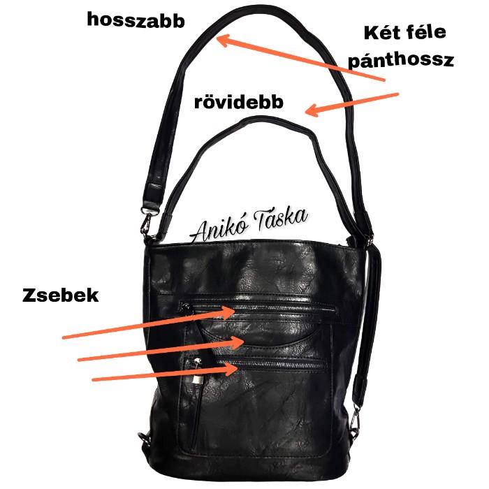 Alakítható női hátitáska vagy válltáska fekete